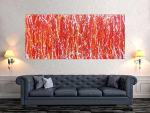 Modernes Acrylbild in orange und weiß