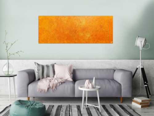 Oranges Acrylbild mit spannendem Muster