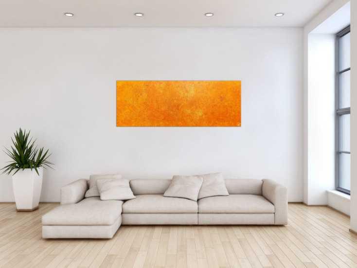 #62 Oranges Acrylbild mit spannendem Muster 60x150cm von Alex Zerr