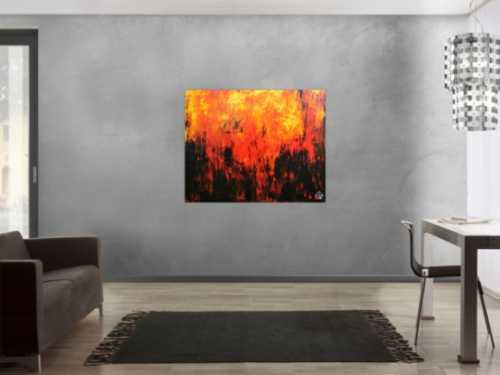 Sehr starkes abstrakes Acrylbild in schwarz orange rot und gelb