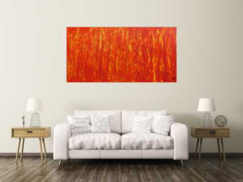 Modernes Acrylgemälde in orange abstrakt schlicht
