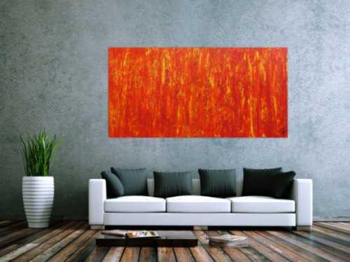 Modernes Acrylgemälde in orange abstrakt schlicht