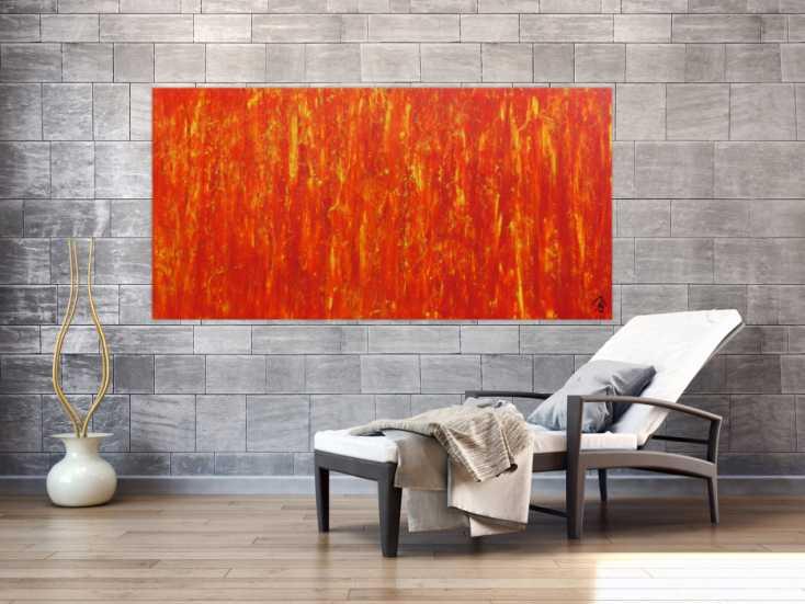 #621 Modernes Acrylgemälde in orange abstrakt schlicht 90x180cm von Alex Zerr