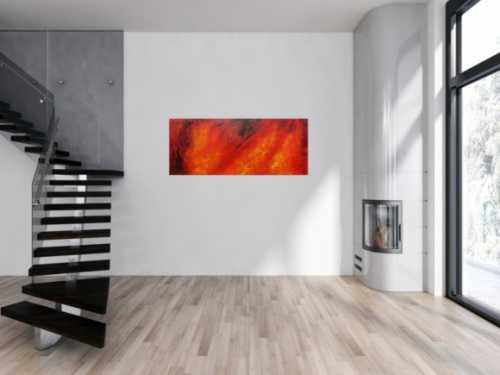 Modernes Acrylgemälde in rot schwarz und gelb