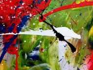 Detailaufnahme Sehr buntes Acrylgemälde abstrakt modern farbenfroh
