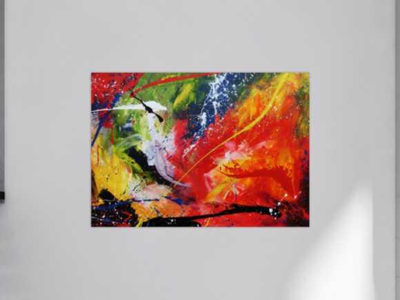 Sehr buntes Acrylgemälde abstrakt modern farbenfroh 100x140cm