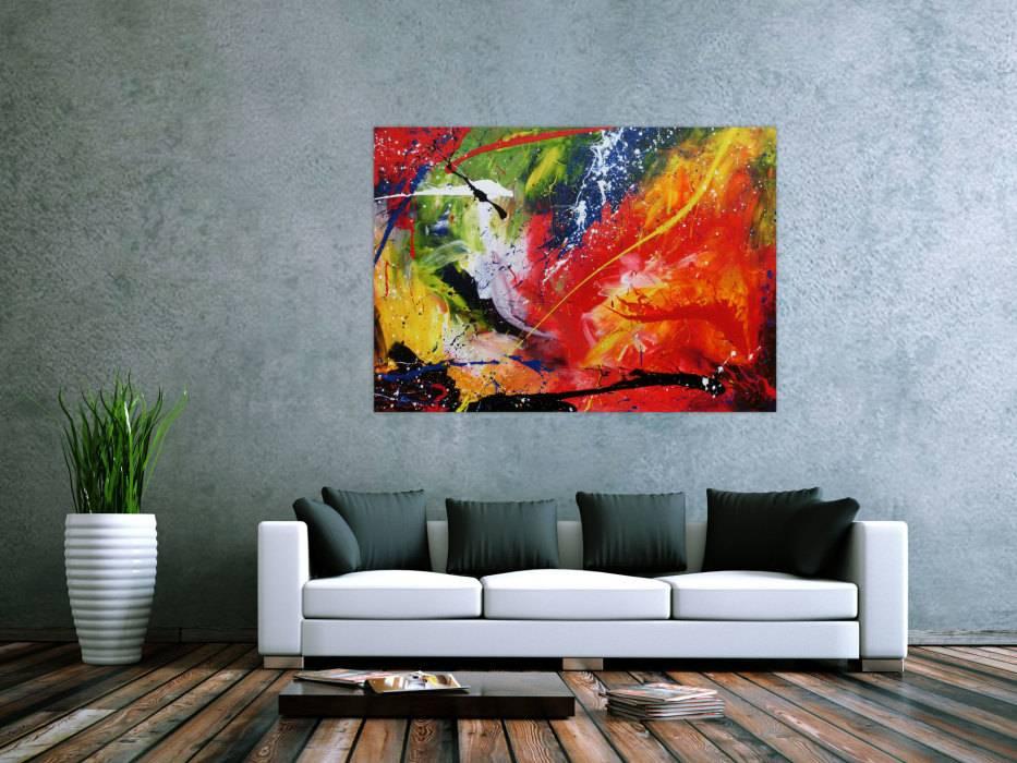 Sehr buntes Acrylgemälde abstrakt modern farbenfroh handgemalt auf ...