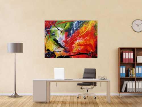 Sehr buntes Acrylgemälde abstrakt modern farbenfroh