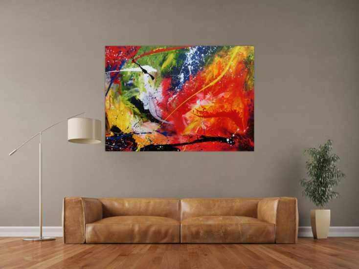#626 Sehr buntes Acrylgemälde abstrakt modern farbenfroh 100x140cm von Alex Zerr