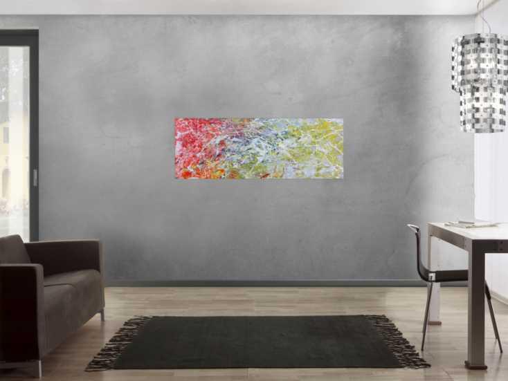#628 Abstraktes Acrylgemälde modern bunt helle Farben 50x140cm von Alex Zerr