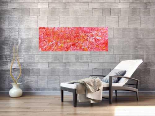 Abstraktes Acrylbild in rosa modern hell freundlich