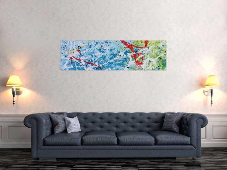 #634 Abstraktes Gemälde mit viel blau modern und hell 40x140cm von Alex Zerr