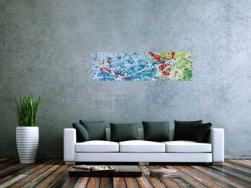 Abstraktes Gemälde mit viel blau modern und hell