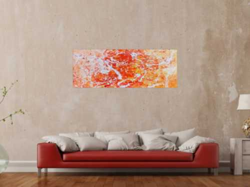 Abstraktes Acrylgemälde modern orange und weiß