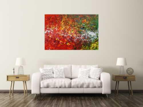 Abstraktes Acrylbild rot und grün modern und bunt