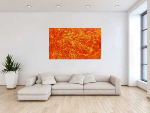 Modernes abstraktes Acrylbild in orange