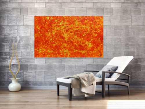 Modernes abstraktes Acrylbild in orange