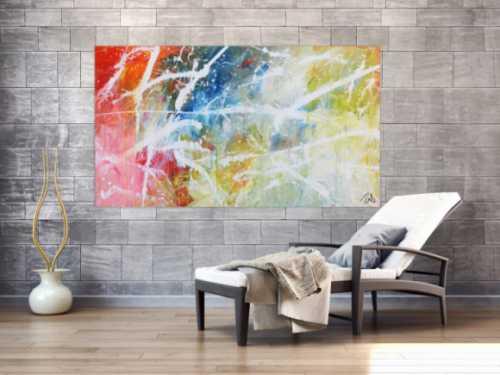Helles abstraktes Acrylgemälde modern bunt zeitgenössisch