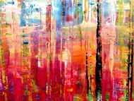 Detailaufnahme Sehr buntes und modernes abstraktes Acrylgemälde helle und dunkle Farben