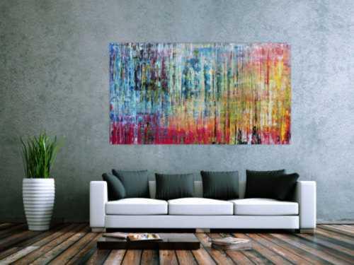 Sehr buntes und modernes abstraktes Acrylgemälde helle und dunkle Farben
