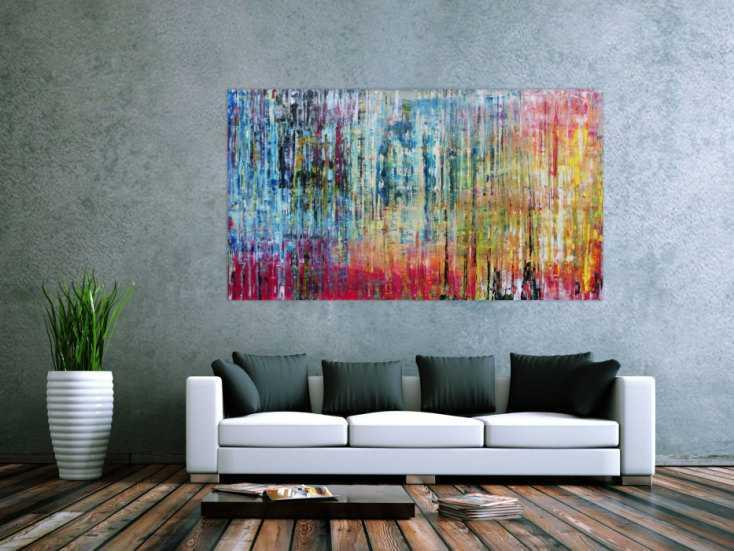 #641 Sehr buntes und modernes abstraktes Acrylgemälde helle und dunkle ... 100x180cm von Alex Zerr