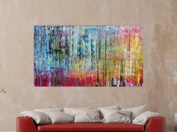 Sehr buntes und modernes abstraktes Acrylgemälde helle und dunkle ... 100x180cm