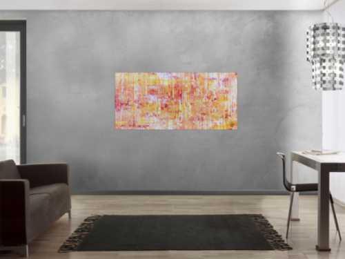 Helles Acrylgemälde modern abstrakt in pink gelb und weiß