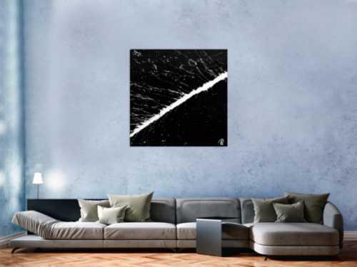 Minimalistisches abstraktes Acrylbild schwarz weiß