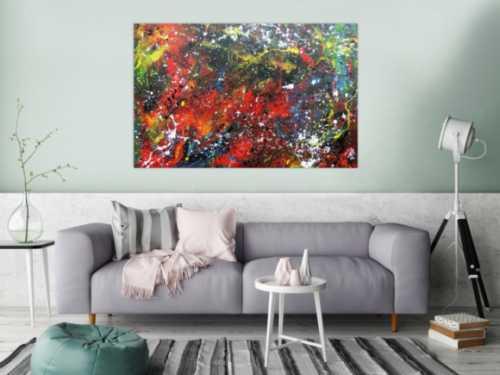 Abstraktes Gemälde aus Acryl moderne Farben sehr bunt