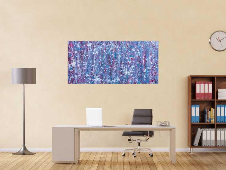 #646 Abstraktes Acrylbild in lila magenta weiß sehr modern 70x150cm von Alex Zerr