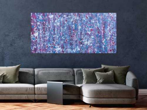 Abstraktes Acrylbild in lila magenta weiß sehr modern