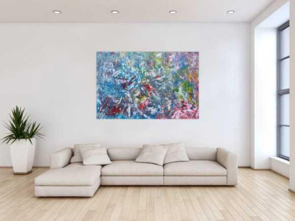 hellblaue abstrakte gem lde online kaufen. Black Bedroom Furniture Sets. Home Design Ideas