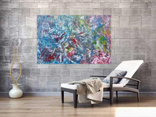Abstraktes Gemälde aus Acryl modern viel blau und rot