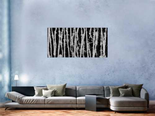 Abstraktes Acrylgemälde in schwarz weiß schlicht modern