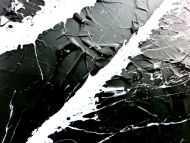 Detailaufnahme Minimalistisches Acrylgemälde schwarz weiß modern schlicht