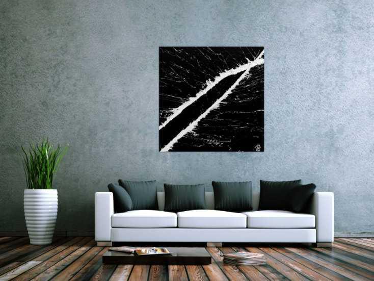 minimalistisches acrylgem lde schwarz wei modern schlicht handgemalt auf leinwand in 100x100cm. Black Bedroom Furniture Sets. Home Design Ideas