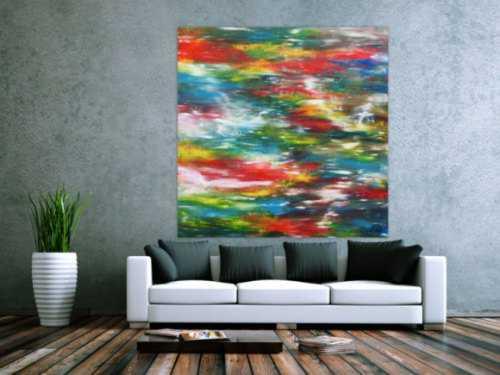 Sehr buntes großes Acrylgemälde modern viele Farben zeitgenössisch