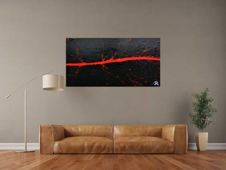 #653 Minimalistisches Acrylbild in schwarz rot modern und schlicht 80x140cm von Alex Zerr