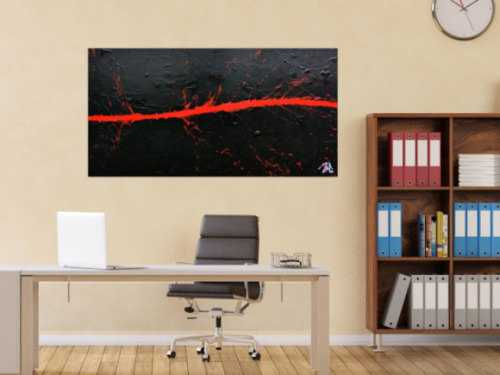 Minimalistisches Acrylbild in schwarz rot modern und schlicht