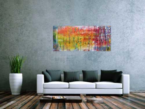 Modernes Acrylbild mit vielen Farben sehr bunt und modern