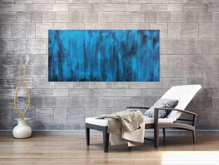 abstraktes acrylbild vintage in t rkis auf leinwand 75x160cm. Black Bedroom Furniture Sets. Home Design Ideas