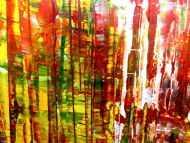 Detailaufnahme Sehr buntes abstraktes Acrylgemälde modern viele Farben