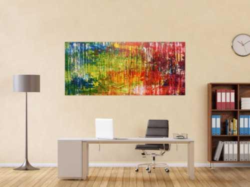 Sehr buntes abstraktes Acrylgemälde modern viele Farben