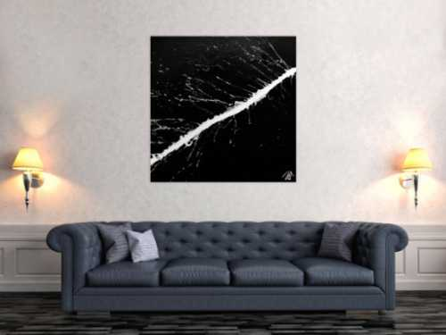 Modernes Acrylbild abstrakt minimalistisch in schwarz weiß