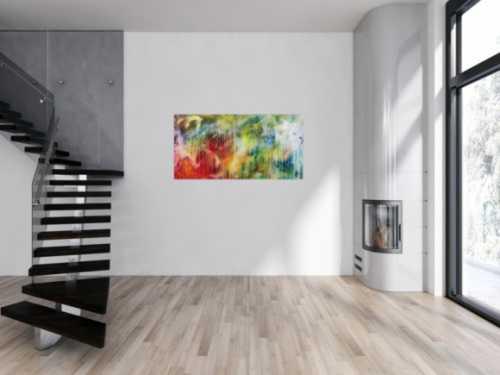 Modernes abstraktes Acrylbild bunt mit hellen Farben