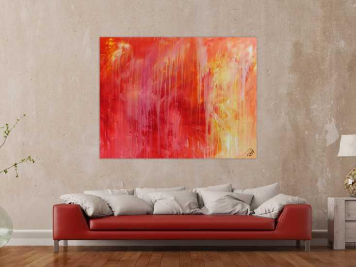 #663 Abstraktes Acrylgemälde modern in rot orange und weiß 120x150cm von Alex Zerr