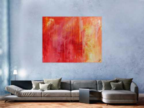 Abstraktes Acrylgemälde modern in rot orange und weiß