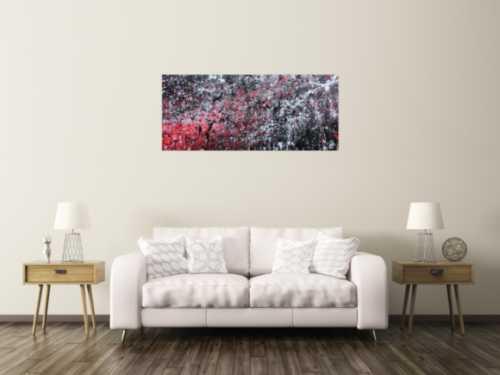 Abstraktes Acrylgemälde in schwarz weiß und rot