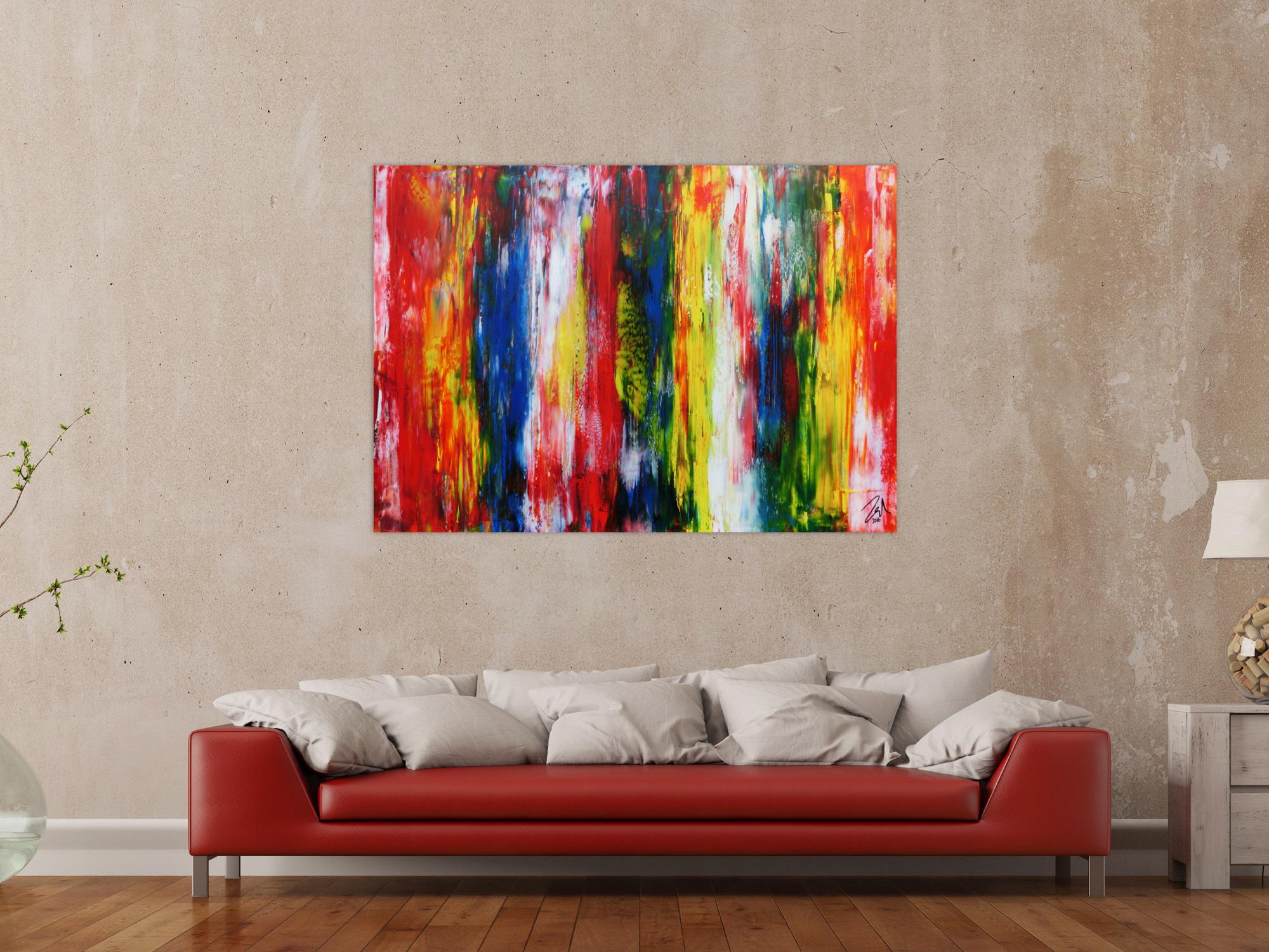xxl acryl gem lde in 100x140cm abstrakte kunst im gro format auf leinwand ebay. Black Bedroom Furniture Sets. Home Design Ideas