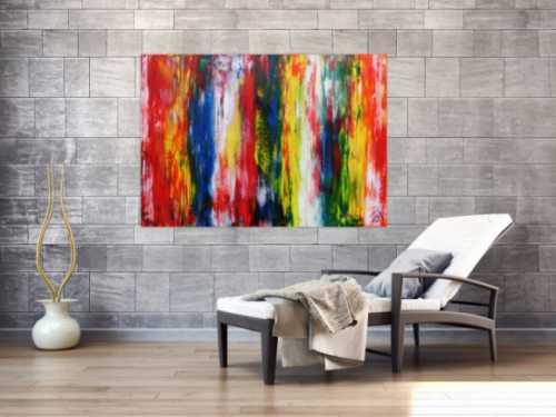 Sehr buntes modernes Acrylgemälde abstrakt mit vielen Farben
